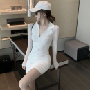 Dress Summer 2021 White skirt S, M Short skirt singleton  Long sleeves commute stand collar High waist Solid color One pace skirt routine 18-24 years old Type H Korean version Stitching, mesh, zipper Four point eight 51% (inclusive) - 70% (inclusive)