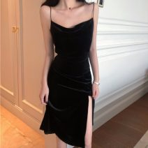 Dress Spring 2021 black S, M Mid length dress singleton  Sleeveless commute High waist Solid color Socket camisole 18-24 years old Simplicity Five point two
