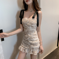 Dress Summer 2021 White, black S,M,L Short skirt singleton  Sleeveless commute High waist Socket One pace skirt camisole 18-24 years old Type A Retro Bows, folds, lace four point one one