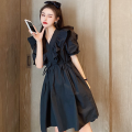 Dress Summer 2021 White, black Average size Short skirt singleton  Short sleeve commute V-neck High waist Solid color Socket A-line skirt puff sleeve 18-24 years old Type A Korean version Lace, lace four point one two