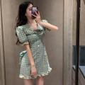 Dress Summer 2021 lattice S, M Short skirt singleton  Short sleeve commute High waist lattice Socket A-line skirt puff sleeve 18-24 years old Type A Korean version three point three one 31% (inclusive) - 50% (inclusive) cotton