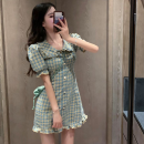 Dress Summer 2021 lattice S, M Short skirt singleton  Short sleeve commute High waist lattice Socket A-line skirt puff sleeve 18-24 years old Type A Korean version three point three one 31% (inclusive) - 50% (inclusive) cotton