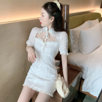 Dress Summer 2021 white S, M Short skirt singleton  Short sleeve commute stand collar High waist Solid color Socket A-line skirt routine 18-24 years old Type A Korean version Cut out, lace up three point three one