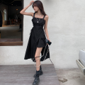 Dress Summer 2021 black Average size Mid length dress singleton  Sleeveless commute High waist Solid color Irregular skirt 18-24 years old Type A Korean version Bandage four point one two