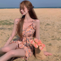 Dress Summer 2021 Blue, yellow S, M Short skirt singleton  Sleeveless commute V-neck High waist Broken flowers Socket One pace skirt camisole 18-24 years old Type A Korean version Fold, Auricularia auricula, lace four point one three polyester fiber