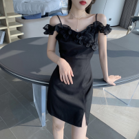 Dress Summer 2021 White, black S,M,L Short skirt singleton  commute One word collar High waist Solid color Socket One pace skirt camisole 18-24 years old Type A Korean version Lotus leaf edge Four point seven 51% (inclusive) - 70% (inclusive) other polyester fiber