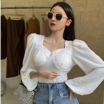 T-shirt White, black Average size Spring 2021 Long sleeves square neck Self cultivation Regular puff sleeve commute other 51% (inclusive) - 70% (inclusive) 18-24 years old Solid color