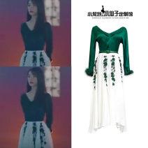 Dress Autumn of 2019 S,M,L,XL Mid length dress singleton  Long sleeves V-neck High waist Socket Lantern skirt Chiffon