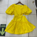 Dress Summer 2021 White, yellow S,M,L Mid length dress singleton  Short sleeve Sweet Crew neck Solid color zipper Ruffle Skirt puff sleeve 18-24 years old D47------0317 51% (inclusive) - 70% (inclusive) solar system