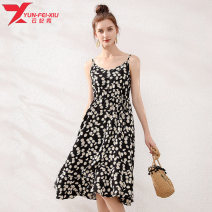 Women's large Summer 2020 black Dress singleton  commute easy thin Socket Sleeveless Broken flowers Korean version polyester Three dimensional cutting Yunfeixiu 30-34 years old 96% and above Polyester 100%