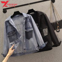 Women's large Spring 2021 Black blue Large L 110-130 Large XL 131-145 large 2XL 146-155 large 3XL 156-170 large 4XL 171-180 Jacket / jacket singleton  commute easy moderate Cardigan Long sleeves other routine cotton Three dimensional cutting routine YA2138 Yunfeixiu 30-34 years old