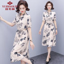 Middle aged and old women's wear Summer 2021 Beige Pink XL (recommended 90-110 kg) 2XL (recommended 110-125 kg) 3XL (recommended 125-135 kg) 4XL (recommended 135-150 kg) fashion Dress easy singleton  Big flower 40-49 years old other other LYQF351C1 Yu Zhaolin Bandage polyester Polyester 100%