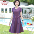 Middle aged and old women's wear Summer 2021 Red purple XL (recommended 90-110 kg) 2XL (recommended 110-125 kg) 3XL (recommended 125-135 kg) 4XL (recommended 135-145 kg) 5XL (recommended 145-160 kg) 6xl (recommended 160-175 kg) fashion Dress easy singleton  Solid color 40-49 years old Socket thin