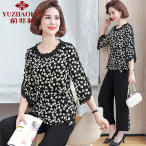 Middle aged and old women's wear Summer 2021 Black apricot blossom white background black flower black background white spot XL (recommended 90-110 kg) 2XL (recommended 110-125 kg) 3XL (recommended 125-135 kg) 4XL (recommended 135-145 kg) 5XL (recommended 145-160 kg) fashion suit easy Two piece set
