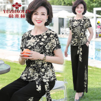 Middle aged and old women's wear Summer 2021 XL (recommended 90-110 kg) 2XL (recommended 110-125 kg) 3XL (recommended 125-135 kg) 4XL (recommended 135-145 kg) 5XL (recommended 145-160 kg) fashion suit easy Two piece set Decor 40-49 years old Socket Crew neck routine Yu Zhaolin Bandage polyester