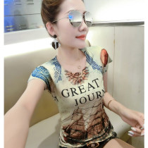 T-shirt Picture color butterfly printing S M L XL 2XL 3XL Summer of 2018 Short sleeve Crew neck Self cultivation Regular routine street other 71% (inclusive) - 85% (inclusive) originality Geometric pattern letter architecture color matching gradient Print stitching Europe and America