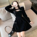 Dress Winter 2020 black M,S,L Short skirt singleton  Long sleeves commute Crew neck High waist Solid color Socket A-line skirt routine Others 18-24 years old Type A Other / other Splicing 81% (inclusive) - 90% (inclusive) velvet polyester fiber