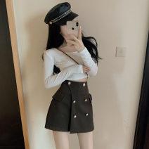 skirt Autumn 2020 S,M,L,XL Black, army green Short skirt commute High waist Type A 51% (inclusive) - 70% (inclusive) Wool Cellulose acetate Korean version