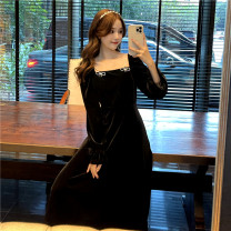Dress Spring 2021 black Average size Miniskirt singleton  Long sleeves commute square neck middle-waisted Socket A-line skirt Princess sleeve 18-24 years old Type A Korean version zipper 1-16 31% (inclusive) - 50% (inclusive) knitting polyester fiber