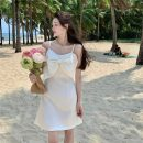 Dress Summer 2021 White, blue M, L Mid length dress singleton  Sleeveless commute square neck High waist Solid color Socket A-line skirt other Others 18-24 years old Type A Korean version 3/30 51% (inclusive) - 70% (inclusive)
