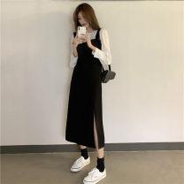 Dress Autumn 2020 S. M, l, average size Mid length dress singleton  commute straps 18-24 years old Korean version 9-5
