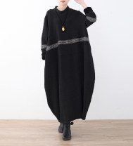 Dress Spring 2021 Brown, black Average size longuette singleton  Long sleeves commute High collar Loose waist Solid color Socket other routine Others Type O Eucalyptus Mutu Retro 81% (inclusive) - 90% (inclusive) knitting cotton