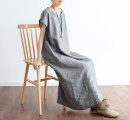 Dress Spring 2021 grey Average size longuette singleton  Short sleeve commute Crew neck Loose waist Solid color Socket other routine Others Type H Eucalyptus Mutu literature More than 95% other hemp