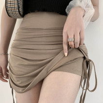 skirt Summer 2021 S,M,L Black, camel Short skirt commute High waist other Solid color Type A 71% (inclusive) - 80% (inclusive) other Not on the other side other Pleating Retro