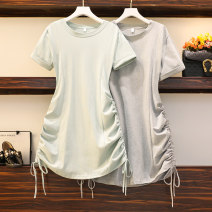 Women's large Summer 2021 Grey, lake blue Large L, large XL, large 2XL, large 3XL, large 4XL Dress singleton  commute easy moderate Socket Short sleeve Korean version Crew neck Three dimensional cutting Three dimensional decoration Medium length