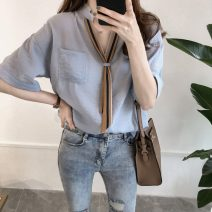 Women's large Summer of 2019 White, blue Large XL, large XXL, large XXL, large XXXXL, large L, large M shirt singleton  commute easy moderate Socket Short sleeve Korean version routine Other / other 25-29 years old