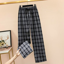 Women's large Summer 2021 Picture color Large XL, large XXL, large XXL, large XXXXL, large L trousers singleton  commute easy moderate lattice Korean version polyester Three dimensional cutting pocket Ninth pants