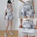 skirt Autumn 2020 S,M,L,XL Light blue, grey Short skirt Versatile High waist A-line skirt Decor Type A 25-29 years old corduroy polyester fiber pocket