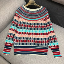 Wool knitwear Autumn of 2019 S,M,L Picture color Long sleeves singleton  Socket other 31% (inclusive) - 50% (inclusive) Regular routine commute easy One word collar other Abstract pattern Socket Korean version N/A 18-24 years old Jane Liang Bright wire, splicing