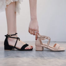 Sandals 34,35,36,37,38,39,40 Black, apricot Suede Other / other Barefoot Thick heel Middle heel (3-5cm) Summer 2021 Flat buckle Korean version Solid color Sewing shoes Youth (18-40 years old) rubber daily Bag heel Cross strap, buckle, thick heel, Roman style Low Gang Hollow Microfiber skin Frosting