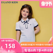 T-shirt Navy navy / 59 [1] coral red / 61 [1] Pink / 25 [2] Ivory / 39 [2] mix / 99 [2] E·LAND KIDS 110cm 120cm 130cm 140cm 150cm 160cm 165cm female summer Short sleeve Lapel and pointed collar leisure time There are models in the real shooting nothing Cotton blended fabric other EKHWB6422R