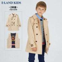 Windbreaker Beige 110cm 120cm 130cm 140cm 150cm 160cm 170cm E·LAND KIDS male spring and autumn Britain nothing double-breasted Medium length Other 100% other Cotton blended fabric Detachable belt Lapel and pointed collar Class C Spring of 2019