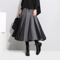 skirt Autumn of 2018 Average size Black and white black grey Mid length dress commute Natural waist A-line skirt stripe Type A 25-29 years old cotton