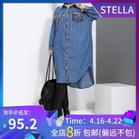 Dress Autumn of 2018 blue Average size Mid length dress singleton  Long sleeves commute stand collar Loose waist stripe Single breasted Irregular skirt shirt sleeve 25-29 years old Type H stella marina collezione Korean version Holes, patching, pockets, stitching, asymmetry, fraying, buttons cotton