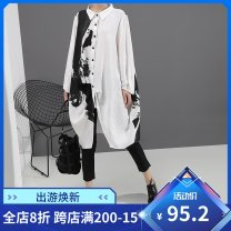 shirt Black, white Average size Autumn of 2019 polyester fiber 31% (inclusive) - 50% (inclusive) Long sleeves commute Medium length stand collar Single row multi button other other 30-34 years old Straight cylinder stella marina collezione Korean version Stitching, asymmetry, buttons