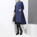 Dress Autumn of 2019 Black, blue Average size Middle-skirt singleton  Long sleeves commute Crew neck Loose waist Solid color Socket Ruffle Skirt routine 25-29 years old Type A stella marina collezione Korean version