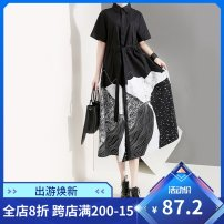 Dress Summer of 2019 Black, white Average size Mid length dress singleton  Short sleeve commute stand collar Loose waist Abstract pattern Single breasted Big swing routine 30-34 years old Type A stella marina collezione Korean version Stitching, buttons, print