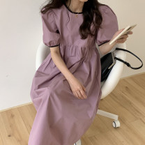 Dress Summer 2021 White, purple, blue Average size Mid length dress singleton  Short sleeve commute Crew neck High waist Solid color Socket A-line skirt puff sleeve Others 18-24 years old Type A Korean version 31% (inclusive) - 50% (inclusive) other other