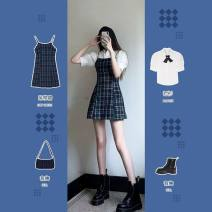Dress Summer 2021 Short sleeve shirt + Plaid suspender skirt (suit), short sleeve shirt (single piece), plaid suspender skirt (single piece) S,M,L,XL Mid length dress singleton  Short sleeve commute Polo collar High waist Solid color Single breasted A-line skirt puff sleeve camisole 18-24 years old