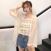 short coat Summer of 2018 Sun beauty dress sling Lotus root pink apricot Pink White Blue apricot color Long sleeve Long section Thin section Single