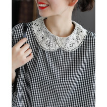 T-shirt Black and white Average size Spring 2021 Nine point sleeve Doll Collar Straight cylinder Regular routine commute cotton 86% (inclusive) -95% (inclusive) Retro literature lattice Dale Lace