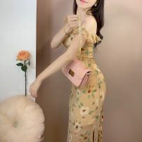 Dress Summer 2021 White and yellow XS,S,M,L Mid length dress singleton  Sleeveless commute V-neck High waist Decor zipper other Petal sleeve camisole 51% (inclusive) - 70% (inclusive) other other