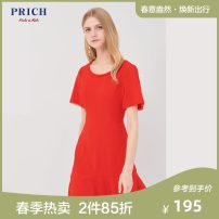 Dress Summer of 2018 Navy Blue Red 165 155 160 170 Mid length dress singleton  Short sleeve commute Crew neck middle-waisted Solid color Socket other Others 25-29 years old PRICH Simplicity More than 95% polyester fiber Polyester 96% polyurethane elastic fiber (spandex) 4%