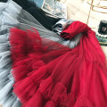 skirt Winter 2020 S M L XL Red and black Mid length dress commute High waist Fluffy skirt Solid color Type A 25-29 years old Xiaomeng Butterfly Pleated Auricularia mesh splicing Retro Exclusive payment of tmall