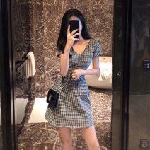 Dress Summer 2021 black S,M,L,XL Short skirt singleton  Short sleeve commute V-neck High waist lattice zipper Princess Dress routine Others 18-24 years old Type X Mengjinsi Korean version A6612 81% (inclusive) - 90% (inclusive) brocade cotton
