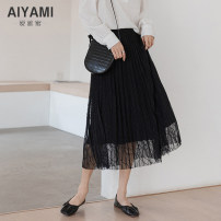 skirt Spring 2021 S M L XL Apricot black Mid length dress Versatile Natural waist Cake skirt other Type A 25-29 years old 91% (inclusive) - 95% (inclusive) other Aiya honey polyester fiber Other polyester 95% 5%